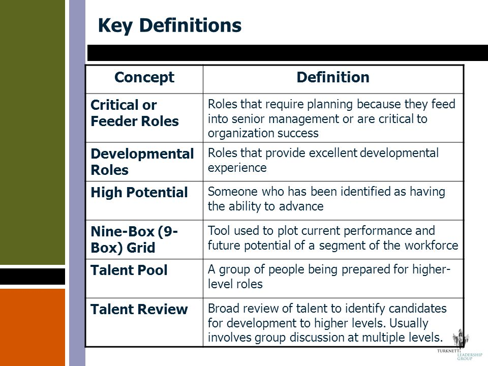 Key Definitions ConceptDefinition Critical or Feeder Roles Roles that require planning because they feed into senior management or are critical to org