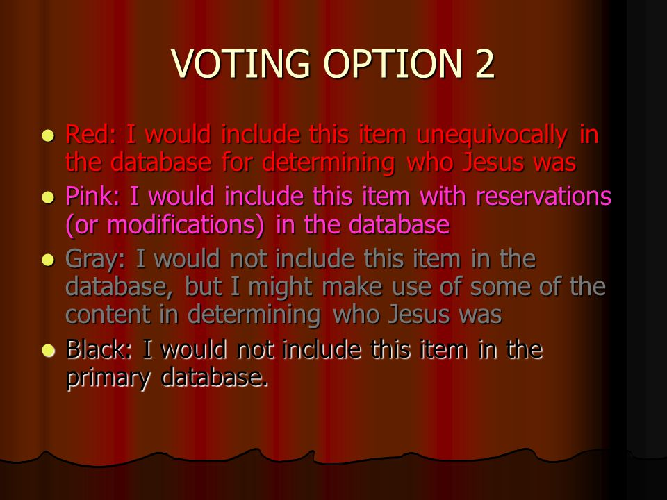 VOTING OPTION 2 Red: I would include this item unequivocally in the database for determining who Jesus was Red: I would include this item unequivocally in the database for determining who Jesus was Pink: I would include this item with reservations (or modifications) in the database Pink: I would include this item with reservations (or modifications) in the database Gray: I would not include this item in the database, but I might make use of some of the content in determining who Jesus was Gray: I would not include this item in the database, but I might make use of some of the content in determining who Jesus was Black: I would not include this item in the primary database.