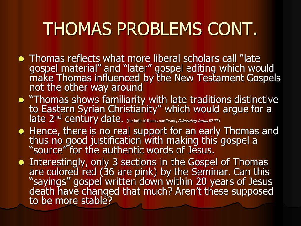 THOMAS PROBLEMS CONT.