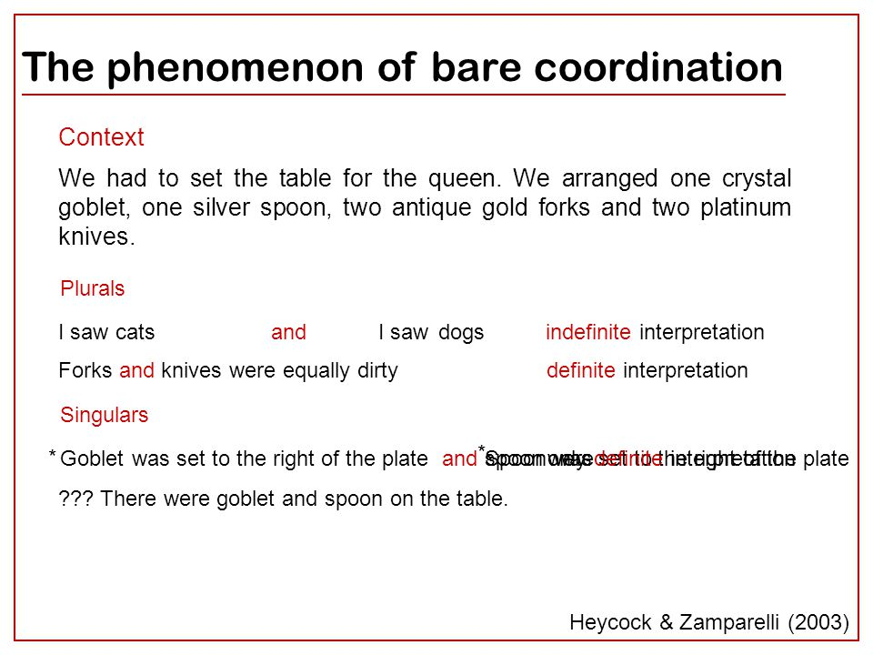 2 Spoon was The phenomenon of bare coordination I saw catsdogsandI saw Context We had to set the table for the queen. We arranged one crystal goblet,