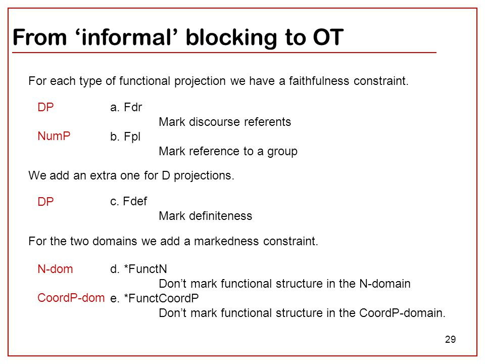 29 From 'informal' blocking to OT a. Fdr Mark discourse referents b. Fpl Mark reference to a group For each type of functional projection we have a fa