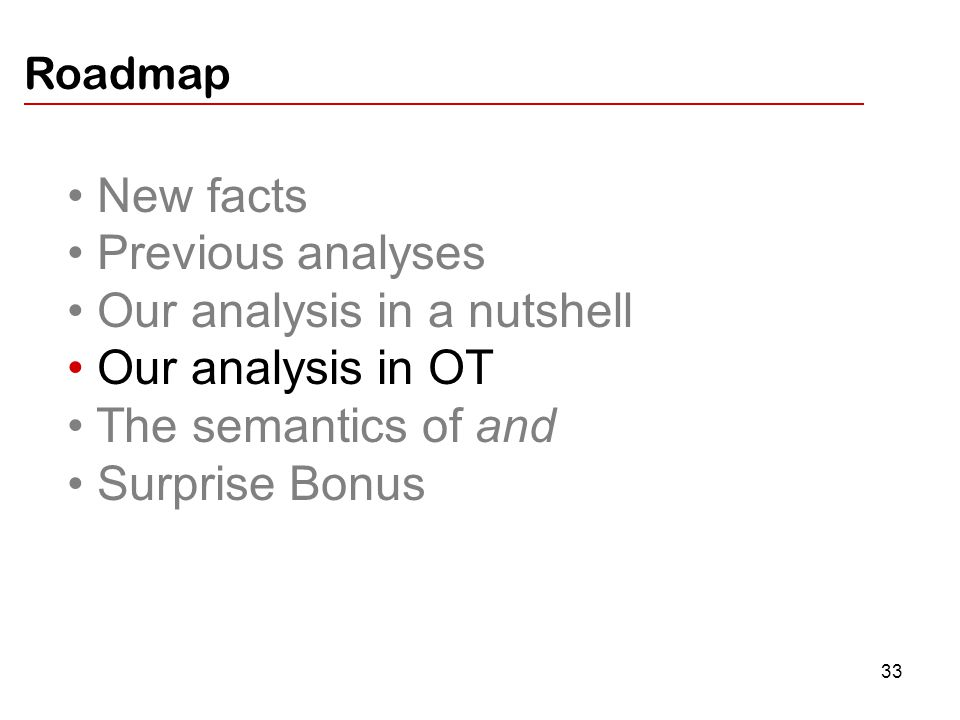 33 New facts Previous analyses Our analysis in a nutshell Our analysis in OT The semantics of and Surprise Bonus Roadmap