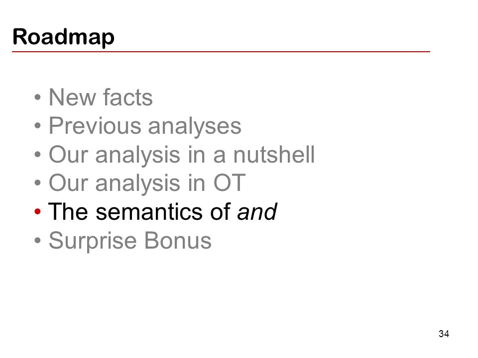 34 New facts Previous analyses Our analysis in a nutshell Our analysis in OT The semantics of and Surprise Bonus Roadmap