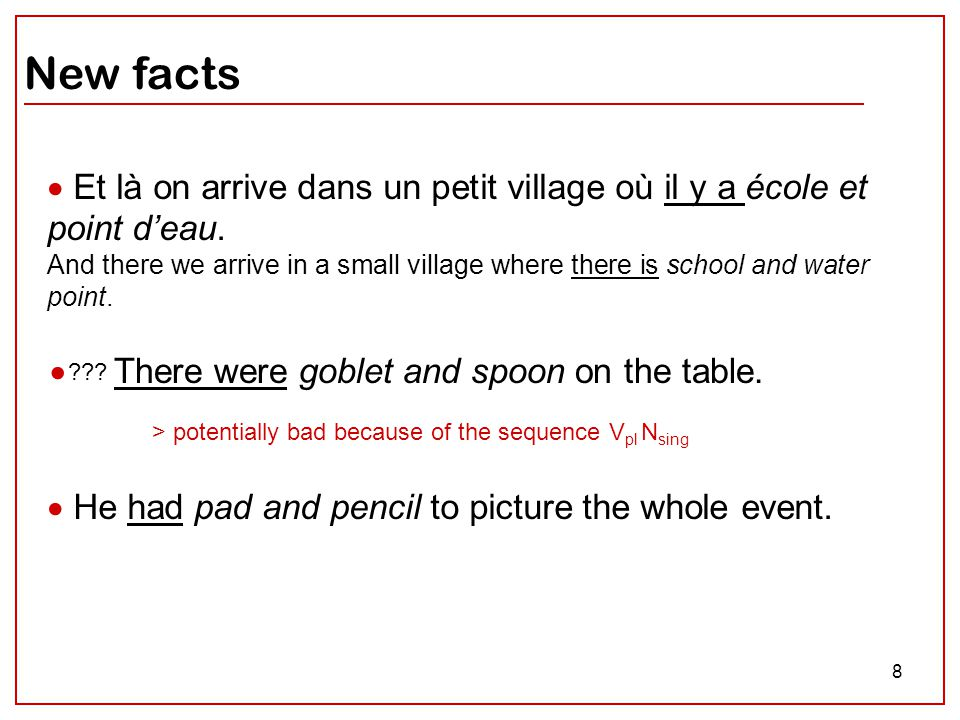 8 New facts  Et là on arrive dans un petit village où il y a école et point d'eau. And there we arrive in a small village where there is school and w