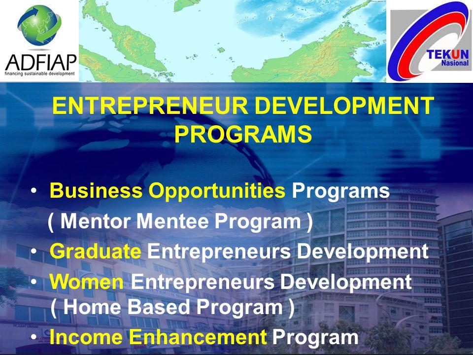 ENTREPRENEUR DEVELOPMENT PROGRAMS Business Opportunities Programs ( Mentor Mentee Program ) Graduate Entrepreneurs Development Women Entrepreneurs Dev