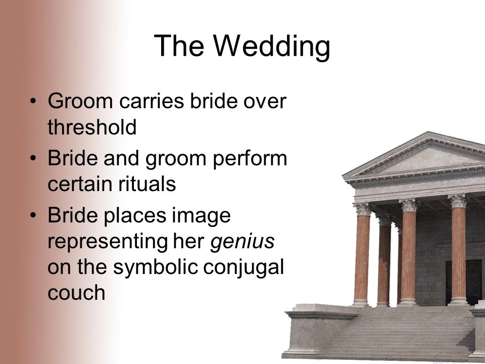 The Wedding Groom carries bride over threshold Bride and groom perform certain rituals Bride places image representing her genius on the symbolic conjugal couch