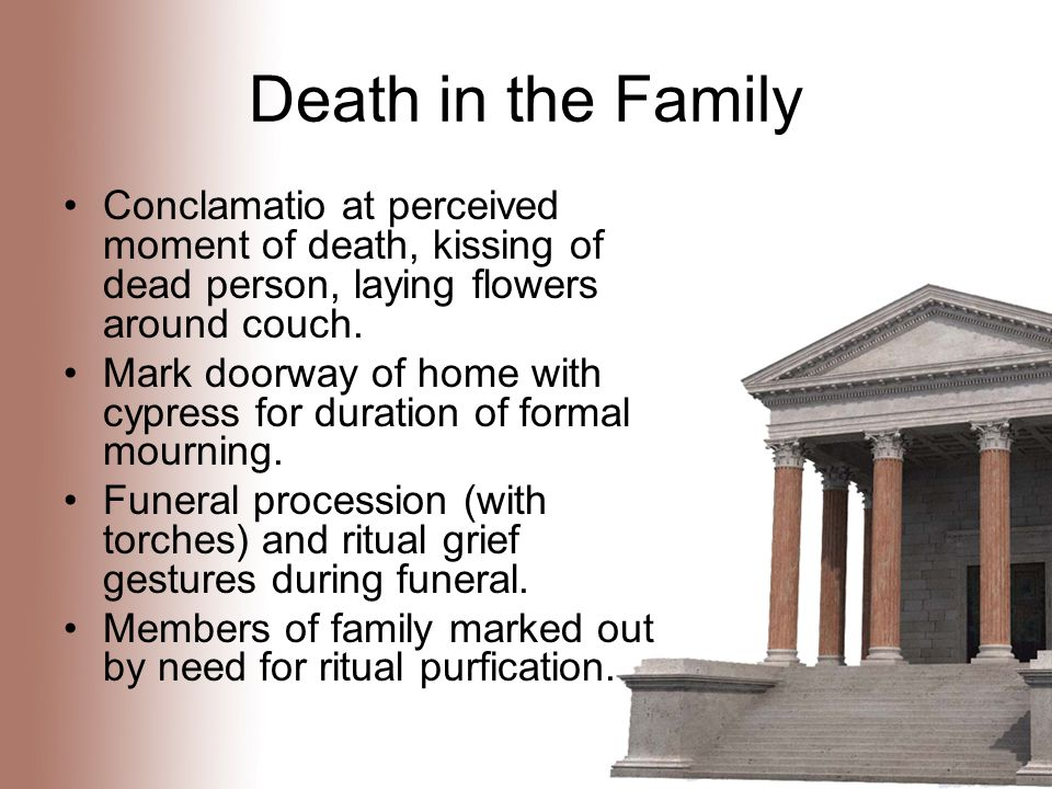 Death in the Family Conclamatio at perceived moment of death, kissing of dead person, laying flowers around couch.