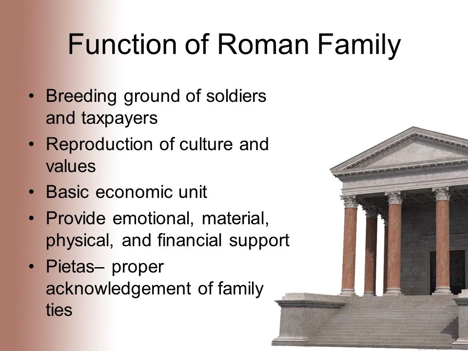 Function of Roman Family Breeding ground of soldiers and taxpayers Reproduction of culture and values Basic economic unit Provide emotional, material, physical, and financial support Pietas– proper acknowledgement of family ties