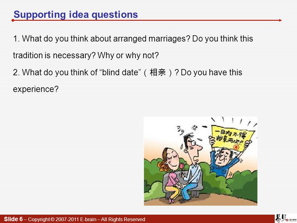 Slide 6 – Copyright © 2007-2011 E-brain – All Rights Reserved Supporting idea questions 1.