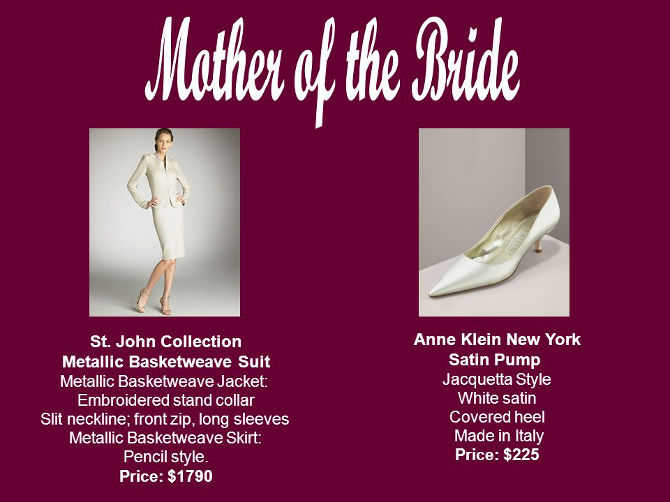 Anne Klein New York Satin Pump Jacquetta Style White satin Covered heel Made in Italy Price: $225 St.