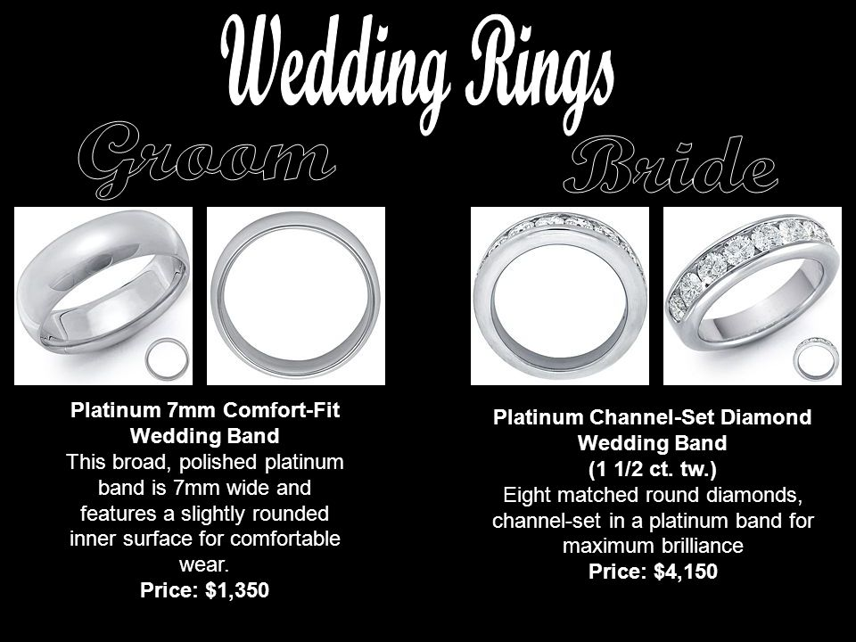 Platinum 7mm Comfort-Fit Wedding Band This broad, polished platinum band is 7mm wide and features a slightly rounded inner surface for comfortable wear.