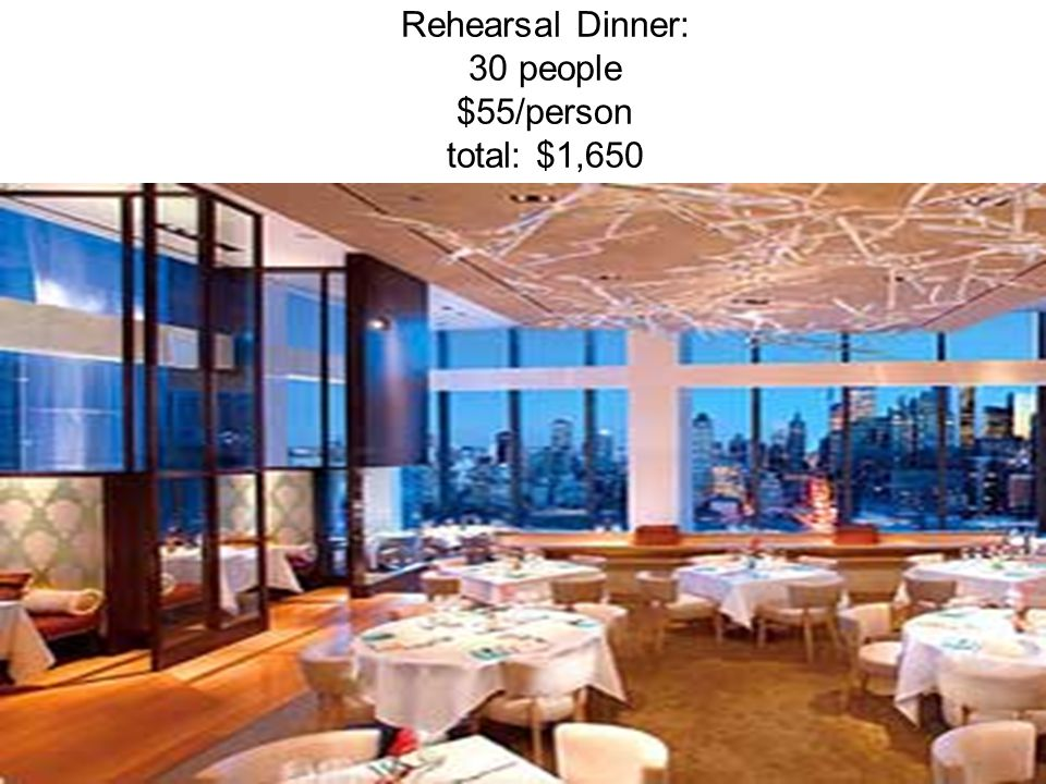 Rehearsal Dinner: 30 people $55/person total: $1,650