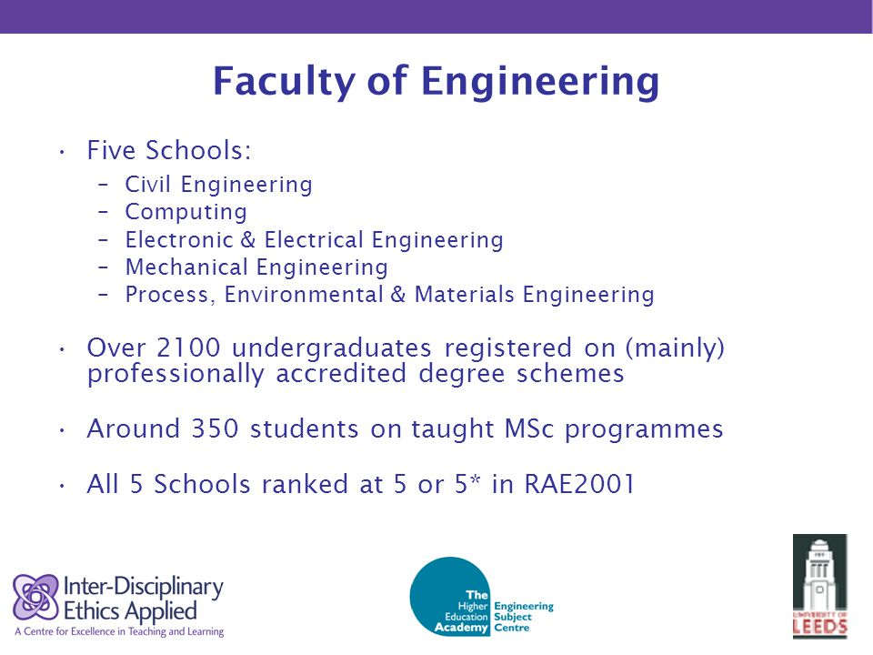 Faculty of Engineering Five Schools: –Civil Engineering –Computing –Electronic & Electrical Engineering –Mechanical Engineering –Process, Environmental & Materials Engineering Over 2100 undergraduates registered on (mainly) professionally accredited degree schemes Around 350 students on taught MSc programmes All 5 Schools ranked at 5 or 5* in RAE2001