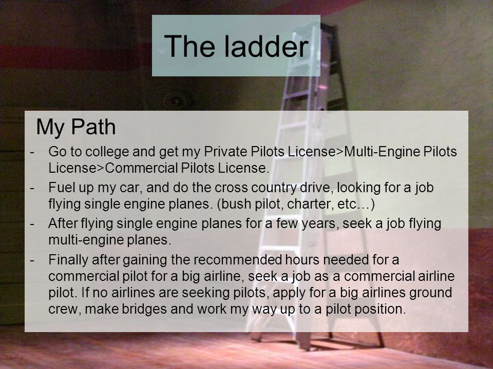 The ladder My Path -Go to college and get my Private Pilots License>Multi-Engine Pilots License>Commercial Pilots License.
