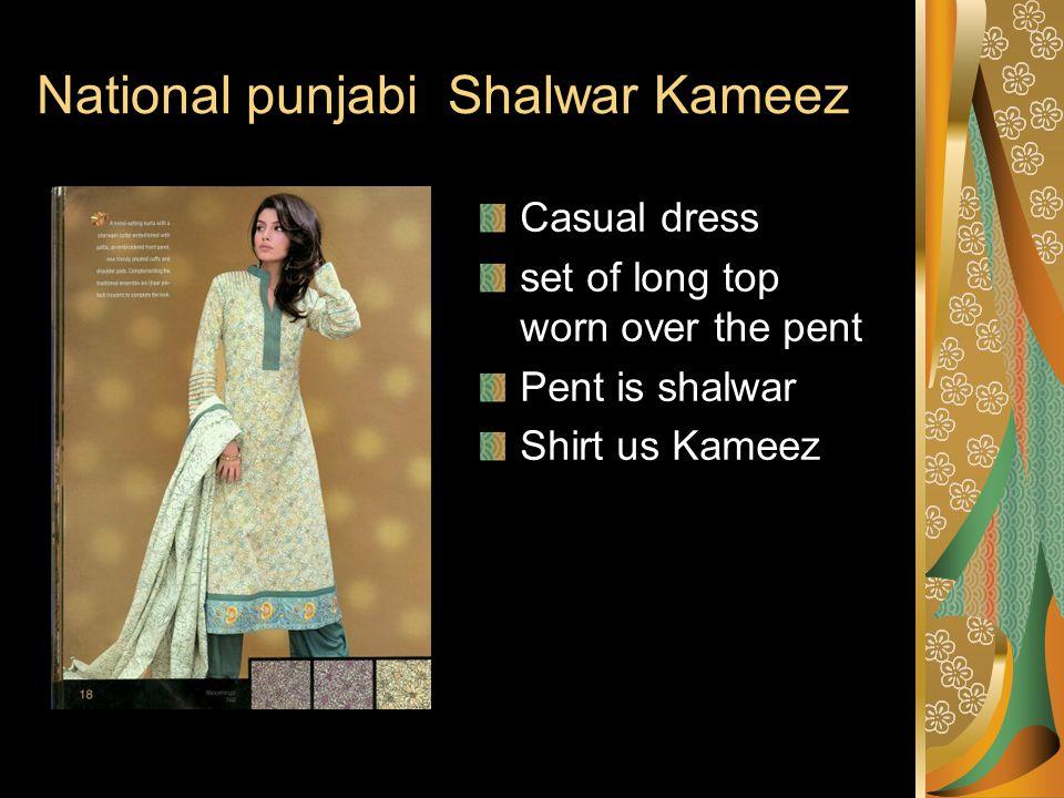 National punjabi Shalwar Kameez Casual dress set of long top worn over the pent Pent is shalwar Shirt us Kameez