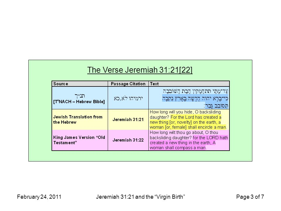 """February 24, 2011Jeremiah 31:21 and the """"Virgin Birth"""" Page 3 of 7 The Verse Jeremiah 31:21[22]"""