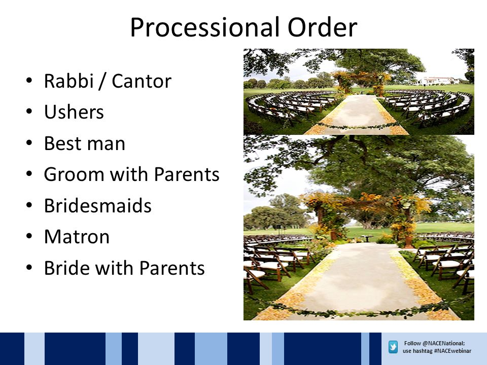 use hashtag #NACEwebinar Processional Order Rabbi / Cantor Ushers Best man Groom with Parents Bridesmaids Matron Bride with Parents