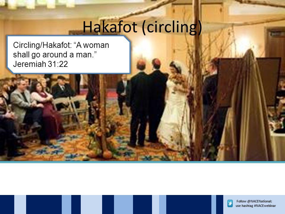 Follow @NACENational; use hashtag #NACEwebinar Hakafot (circling) Circling/Hakafot: A woman shall go around a man. Jeremiah 31:22