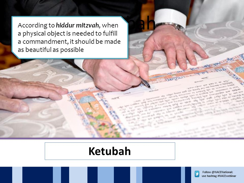 use hashtag #NACEwebinar Ketubah According to hiddur mitzvah, when a physical object is needed to fulfill a commandment, it should be made as beautiful as possible Ketubah