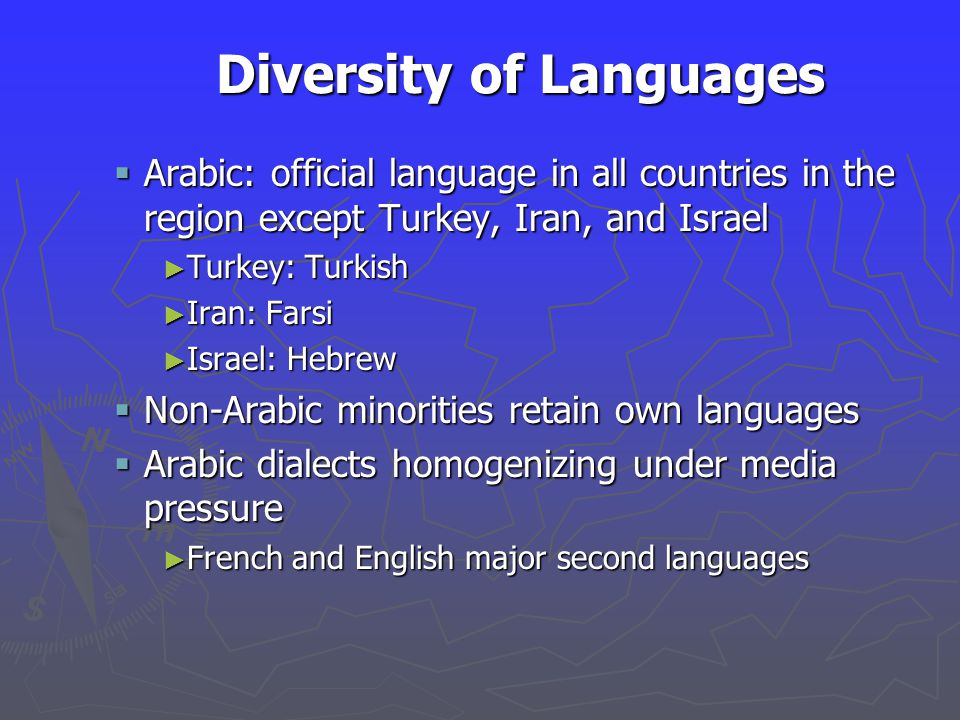 Diversity of Languages  Arabic: official language in all countries in the region except Turkey, Iran, and Israel ► Turkey: Turkish ► Iran: Farsi ► Israel: Hebrew  Non-Arabic minorities retain own languages  Arabic dialects homogenizing under media pressure ► French and English major second languages