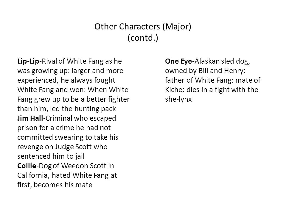 Other Characters (Major) (contd.) Lip-Lip-Rival of White Fang as he was growing up: larger and more experienced, he always fought White Fang and won: