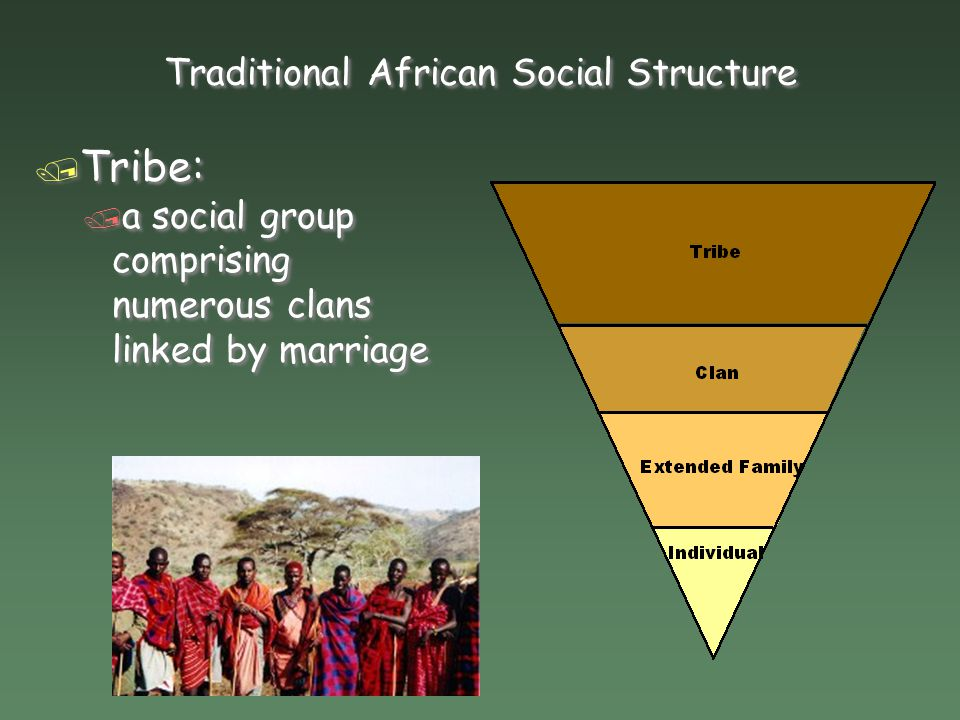 Traditional African Social Structure / Clan: / a social group comprising a number of families who claim descent from common ancestor and whose families are linked by marriage / Clan: / a social group comprising a number of families who claim descent from common ancestor and whose families are linked by marriage
