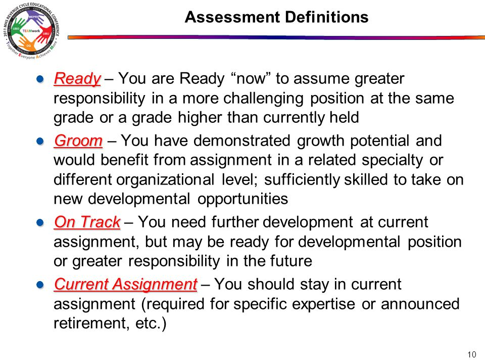 Assessment Definitions Ready Ready – You are Ready now to assume greater responsibility in a more challenging position at the same grade or a grade higher than currently held Groom Groom – You have demonstrated growth potential and would benefit from assignment in a related specialty or different organizational level; sufficiently skilled to take on new developmental opportunities On Track On Track – You need further development at current assignment, but may be ready for developmental position or greater responsibility in the future Current Assignment Current Assignment – You should stay in current assignment (required for specific expertise or announced retirement, etc.) 10