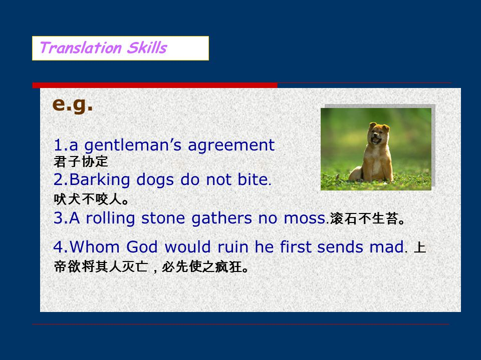 Translation Skills 直译法 直译法并非依照原文逐字对译,而是取其题旨 用意和比喻形象,兼顾原文修辞效果。故当原文用 意独特、汉语又无对应说法时,均可采用直译法。