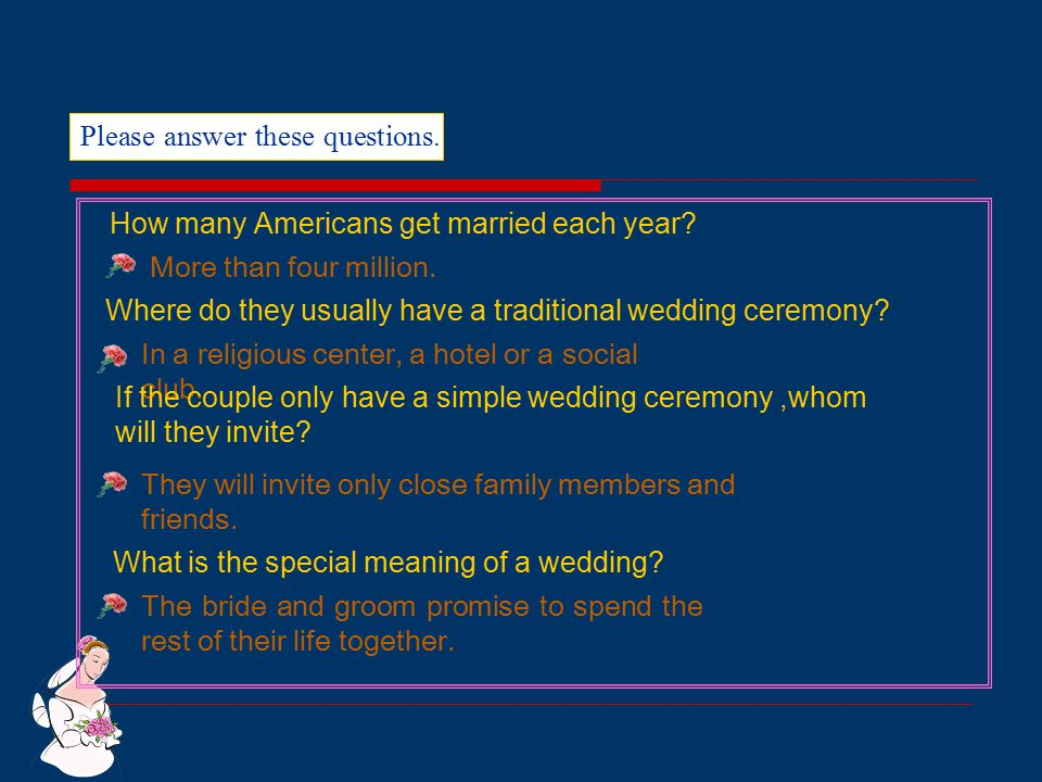 Please answer these questions.How many Americans get married each year.