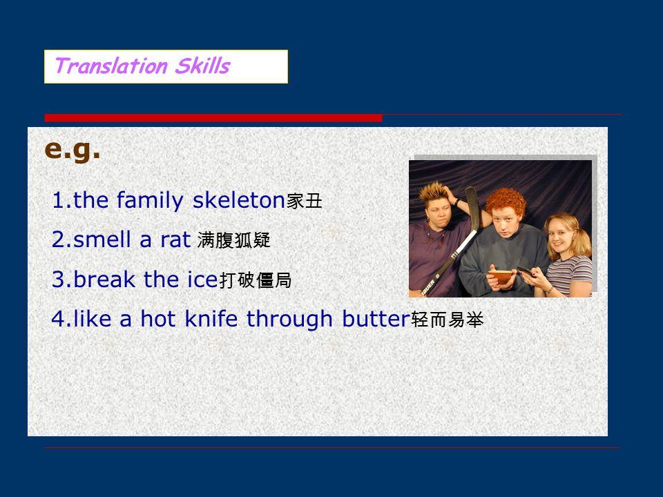 意译法 有的英语习语直译过来不能为读者所理解,甚 至可能造成误解,但又没有适当的汉语说法可以套 用,这时可采用意译法。