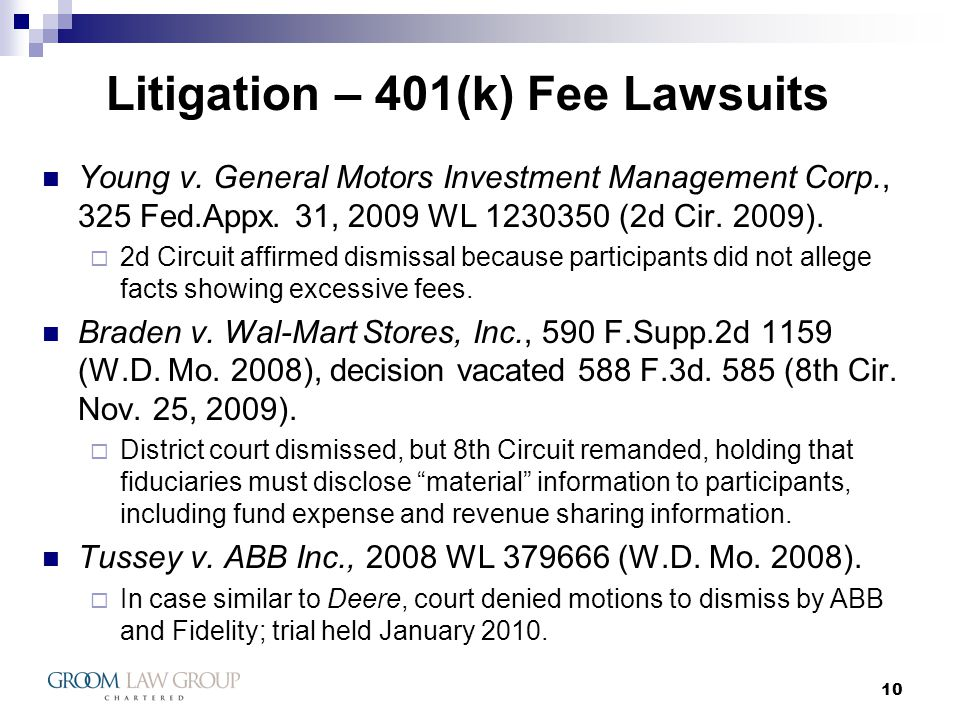 10 Litigation – 401(k) Fee Lawsuits Young v.