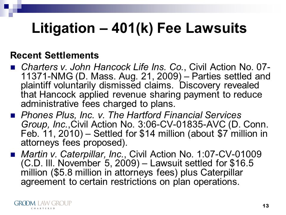 13 Litigation – 401(k) Fee Lawsuits Recent Settlements Charters v.
