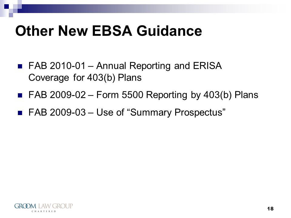 18 Other New EBSA Guidance FAB 2010-01 – Annual Reporting and ERISA Coverage for 403(b) Plans FAB 2009-02 – Form 5500 Reporting by 403(b) Plans FAB 2009-03 – Use of Summary Prospectus