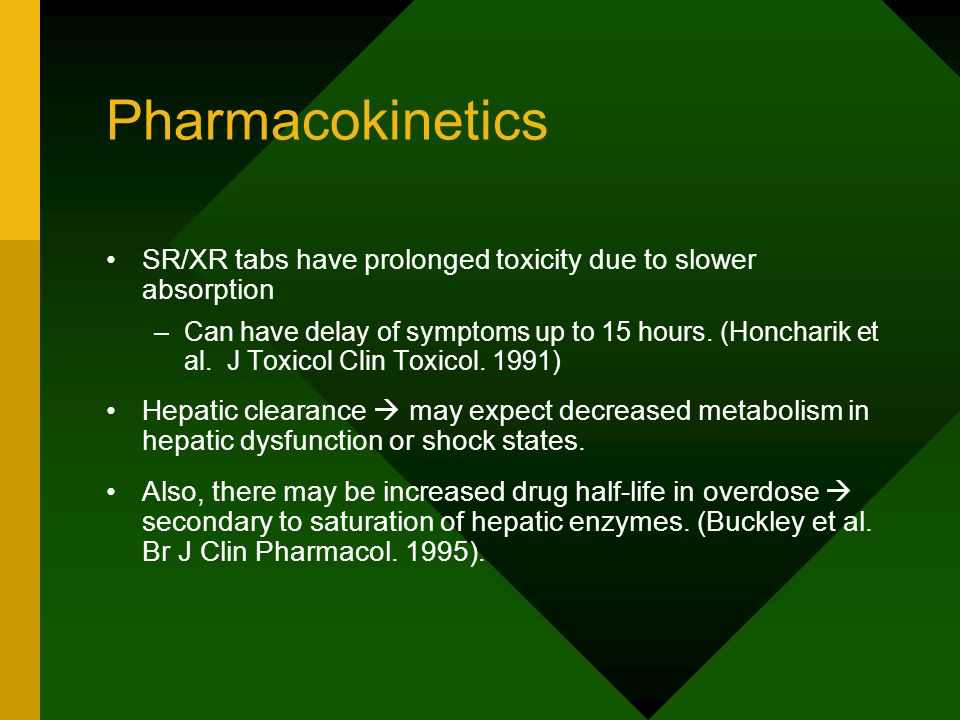 Pharmacokinetics SR/XR tabs have prolonged toxicity due to slower absorption –Can have delay of symptoms up to 15 hours.