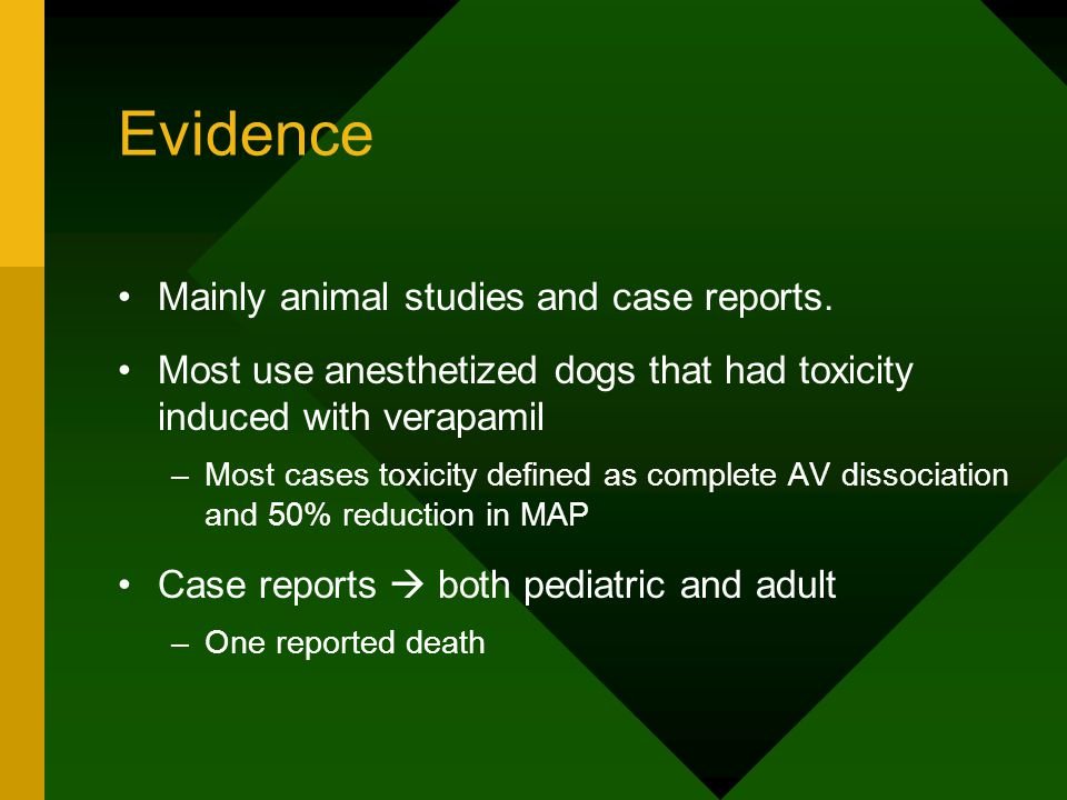 Evidence Mainly animal studies and case reports.