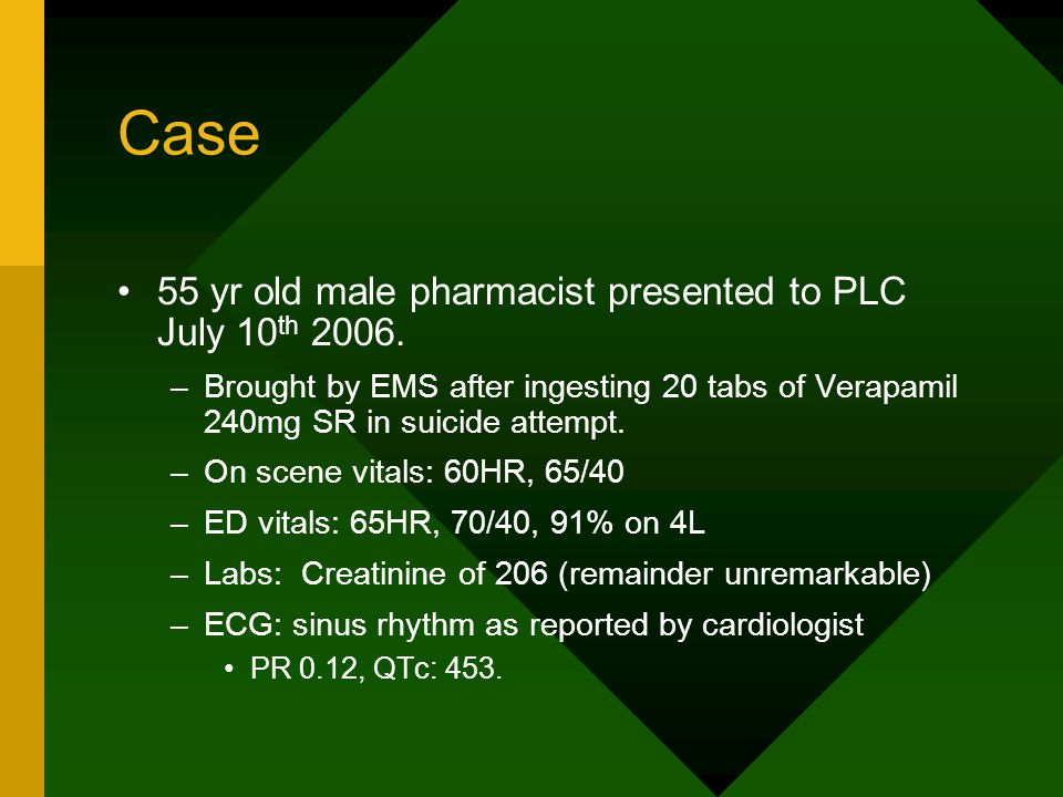 Case 55 yr old male pharmacist presented to PLC July 10 th 2006.