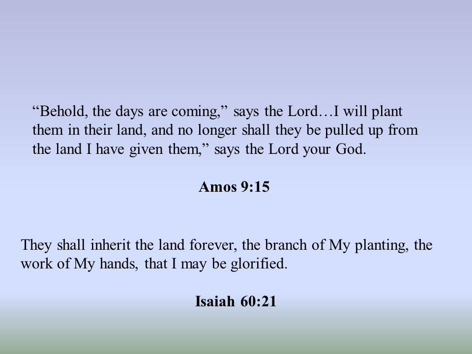 Behold, the days are coming, says the Lord…I will plant them in their land, and no longer shall they be pulled up from the land I have given them, says the Lord your God.