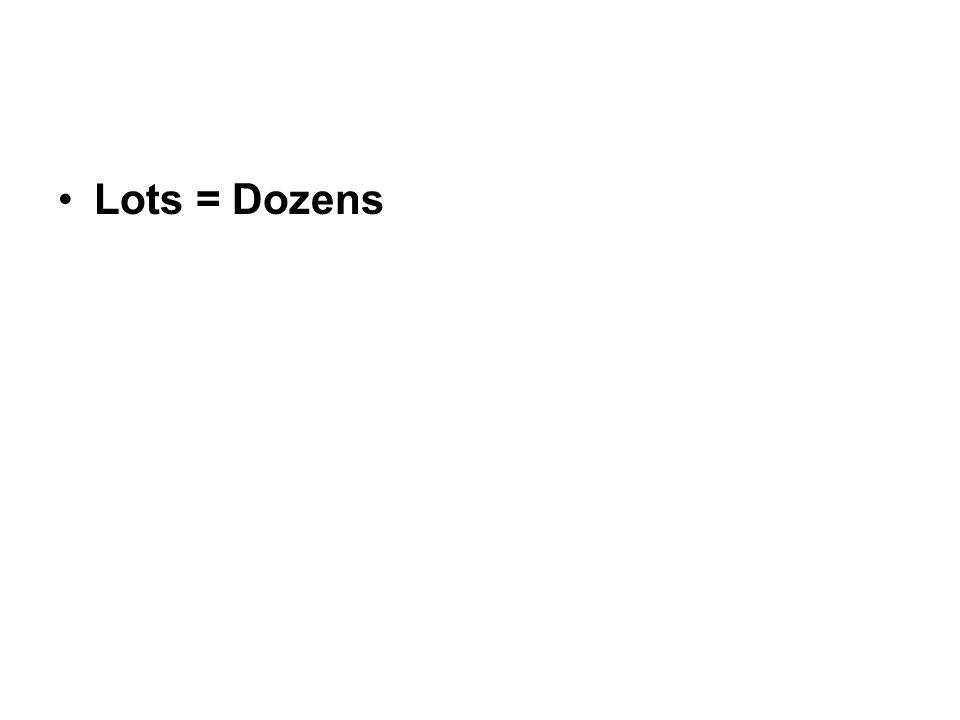 Lots = Dozens