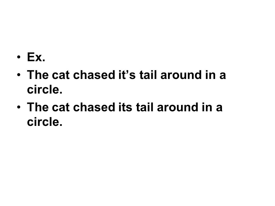Ex. The cat chased it's tail around in a circle. The cat chased its tail around in a circle.