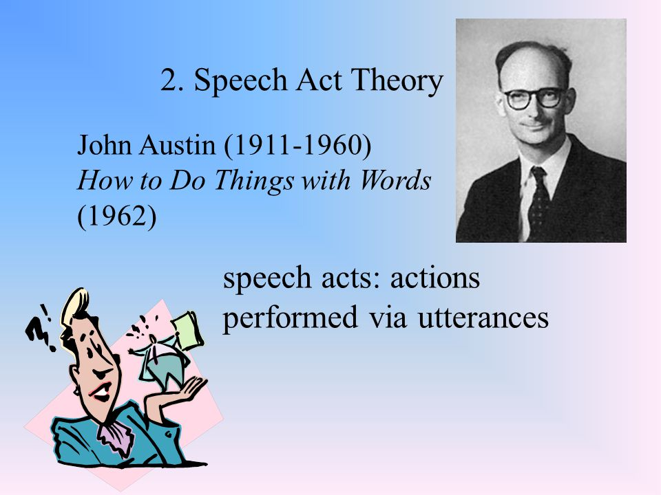 2. Speech Act Theory John Austin (1911-1960) How to Do Things with Words (1962) speech acts: actions performed via utterances