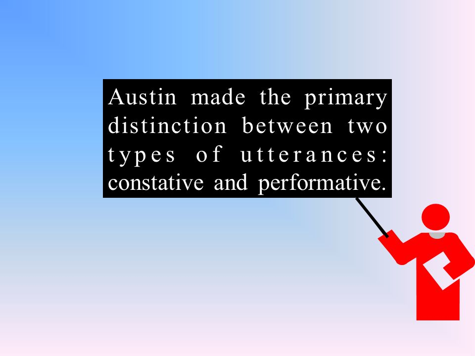 Austin made the primary distinction between two types of utterances: constative and performative.