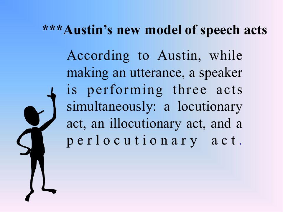 According to Austin, while making an utterance, a speaker is performing three acts simultaneously: a locutionary act, an illocutionary act, and a perl
