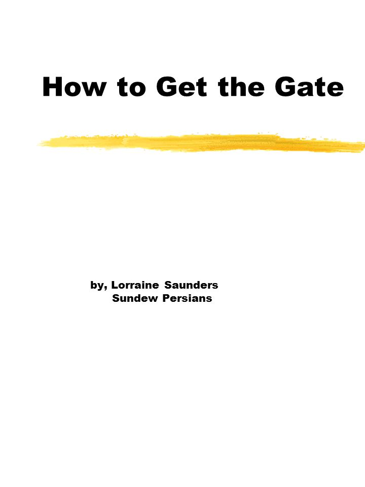 How to Get the Gate by, Lorraine Saunders Sundew Persians