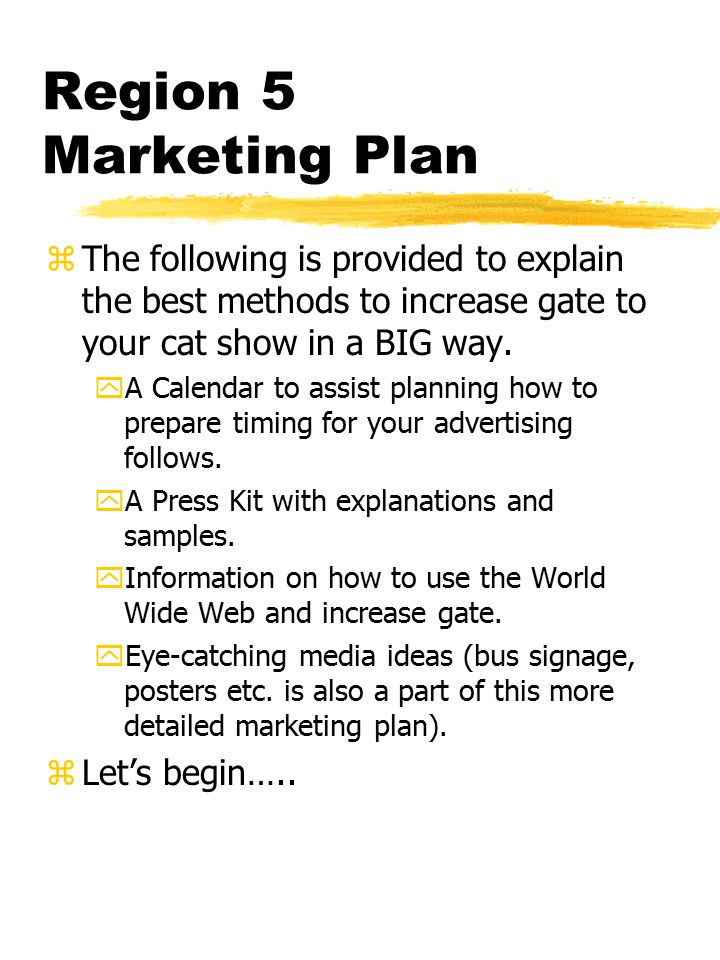 Region 5 Marketing Plan zThe following is provided to explain the best methods to increase gate to your cat show in a BIG way.