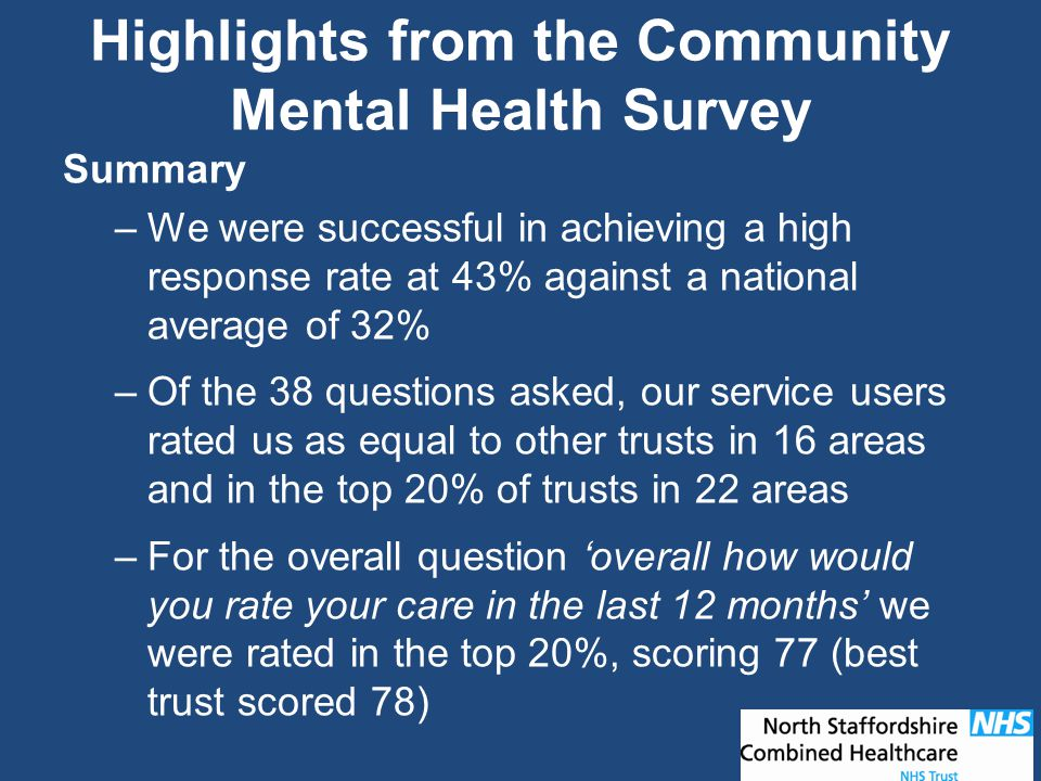 Highlights from the Community Mental Health Survey Summary –We were successful in achieving a high response rate at 43% against a national average of