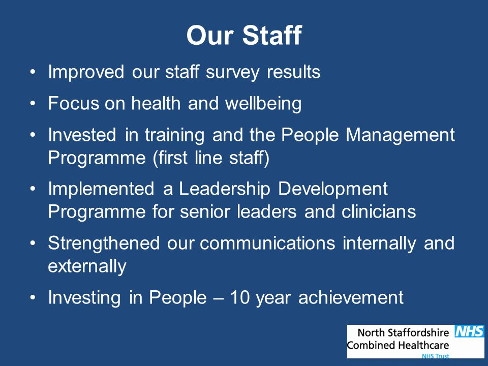 Improved our staff survey results Focus on health and wellbeing Invested in training and the People Management Programme (first line staff) Implemented a Leadership Development Programme for senior leaders and clinicians Strengthened our communications internally and externally Investing in People – 10 year achievement