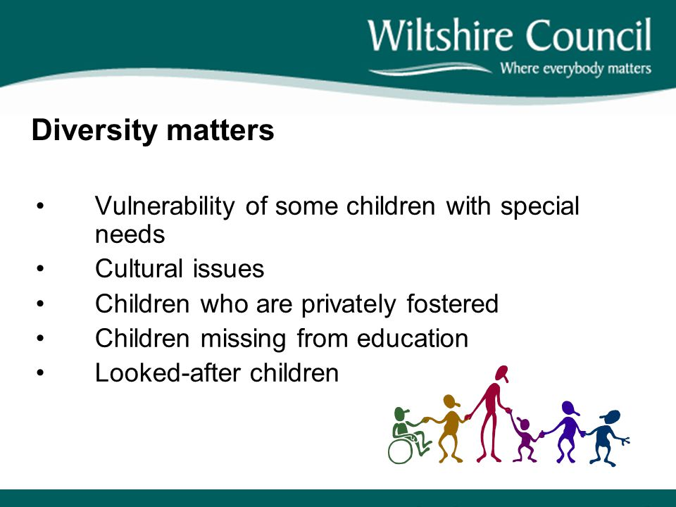 Diversity matters Vulnerability of some children with special needs Cultural issues Children who are privately fostered Children missing from education Looked-after children