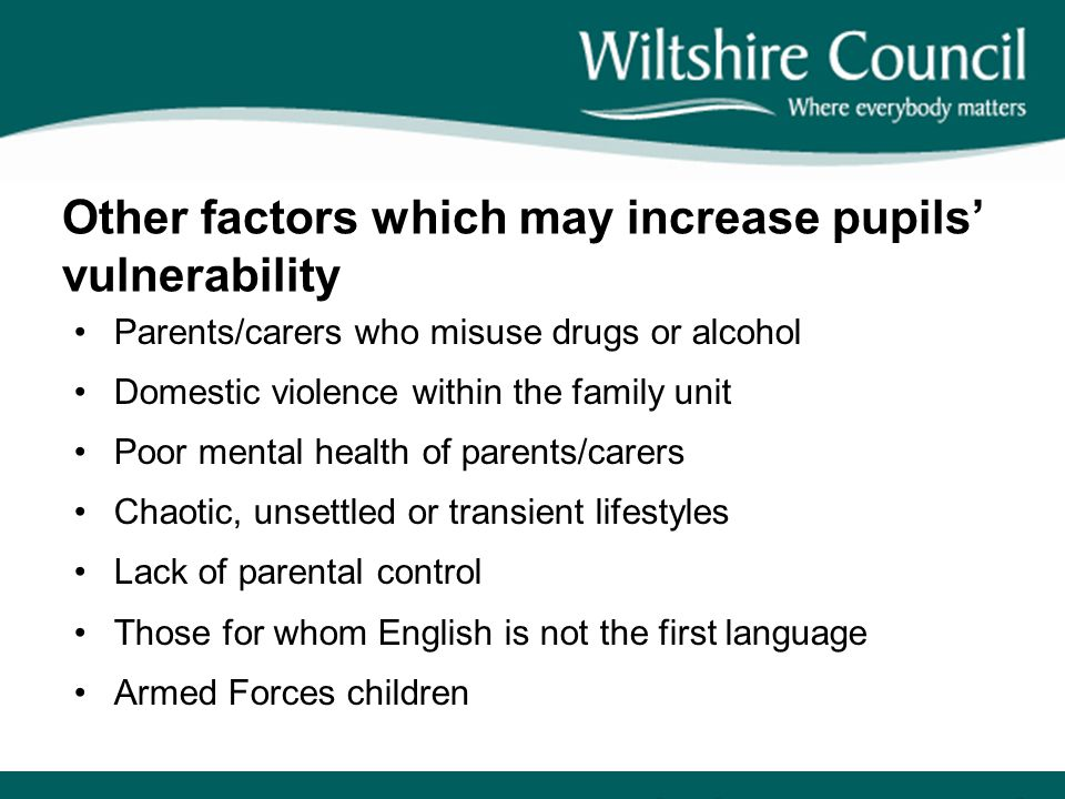 Other factors which may increase pupils' vulnerability Parents/carers who misuse drugs or alcohol Domestic violence within the family unit Poor mental health of parents/carers Chaotic, unsettled or transient lifestyles Lack of parental control Those for whom English is not the first language Armed Forces children