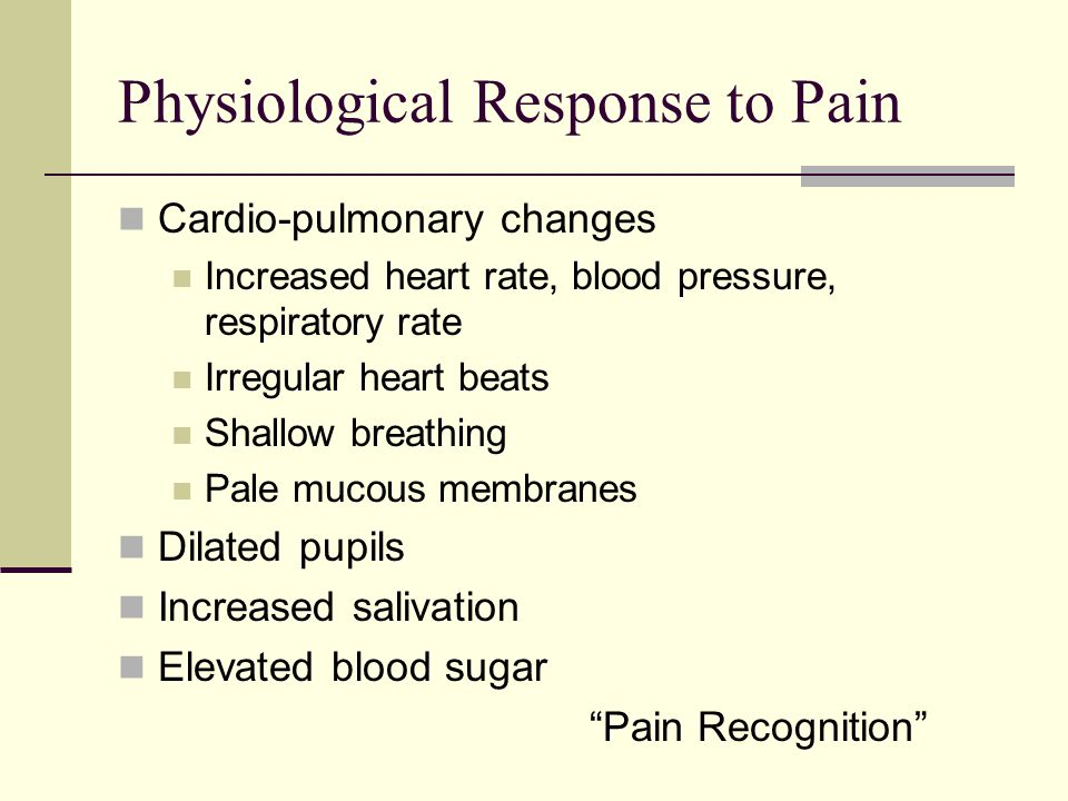 Degrees of Pain Mild pain Moderate pain Severe pain Vocalization Self-mutilation Violent thrashing
