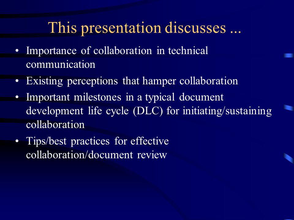 This presentation discusses...